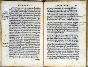 Theriaca de Pere Jaume Esteve, p. 79. Copia d'Ulisse Aldrovandi. BUB.